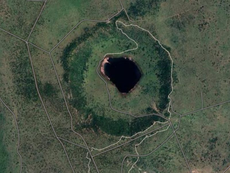"Tswaning Crater. Source: ""Tswaing Crater"" 25.408663 S and 28.082639 E. Google Earth. January 19, 2020. September 15, 2020"